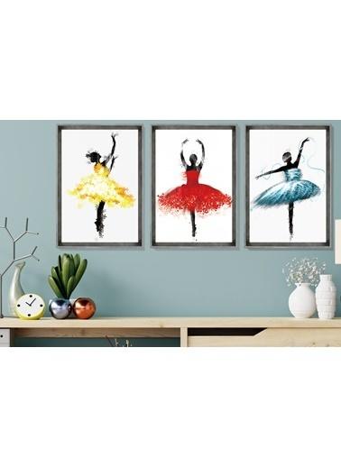 Çerçeve Home  Ballerina Girls Inox Çerçeve Tablo Seti Füme